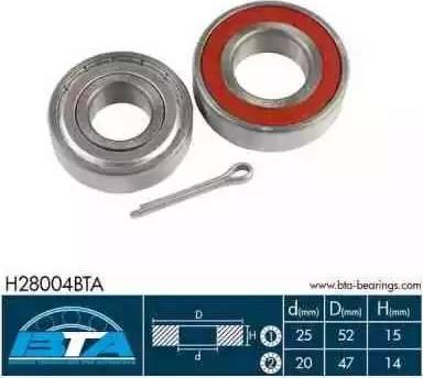 BTA H28004BTA - Wheel hub, bearing Kit www.parts5.com