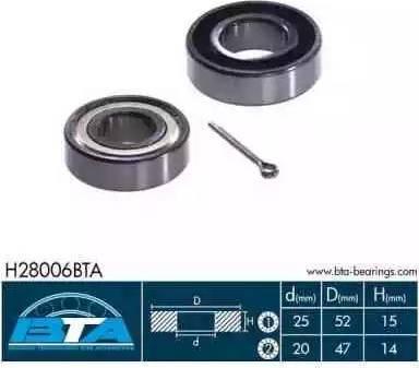 BTA H28006BTA - Wheel hub, bearing Kit www.parts5.com