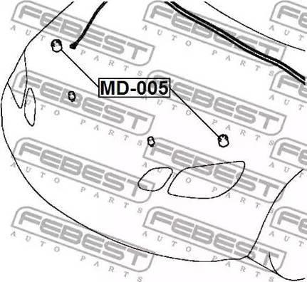 Febest MD005 - Buffer, hood www.parts5.com